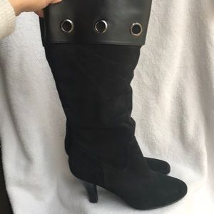 Tall black SOFFT heel boots leather upper 7